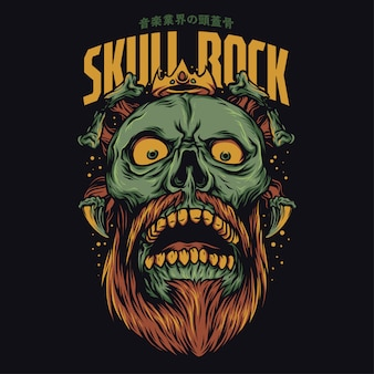Skull rock cartoon funny illustration