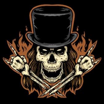 Skull rocker head and hat mascot design logo