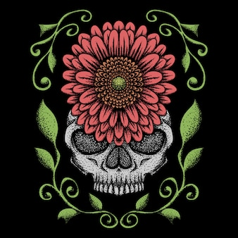Skull rose decoration vector illustration
