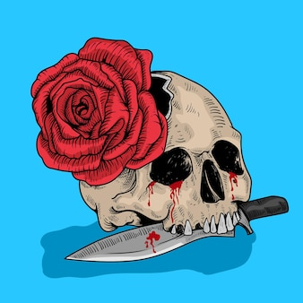 Skull and rose illustration