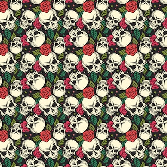Skull and rose seamless pattern background