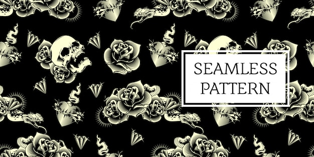 Skull rose snake seamless pattern design