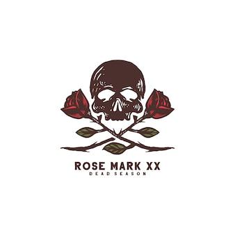 Skull rose vector