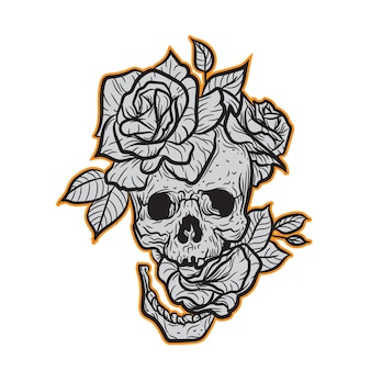 Skull and roses for t shirt design