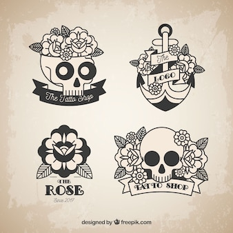 Skull and roses tattoo collection