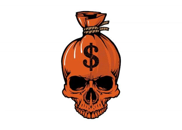 Skull sack of dollars