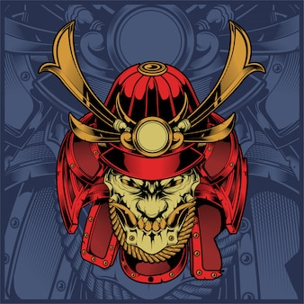Skull samurai hand drawing vector