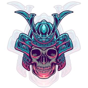 Иллюстрация головы самурая черепа