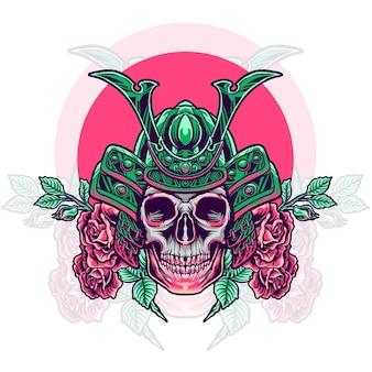 Skull samurai head with roses