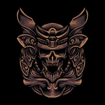 Skull samurai skull head illustration