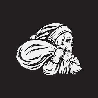 Skull santa claus christmas vector illustration