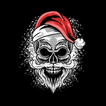Skull santa claus illustration