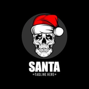Skull santa claus logo template
