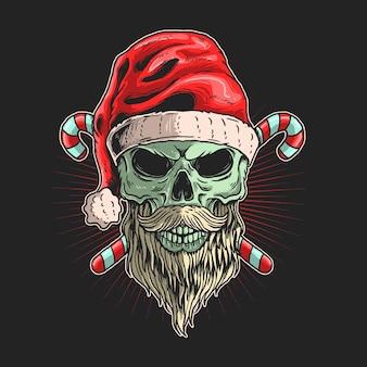 髭イラストグラフィックと頭蓋骨サンタ