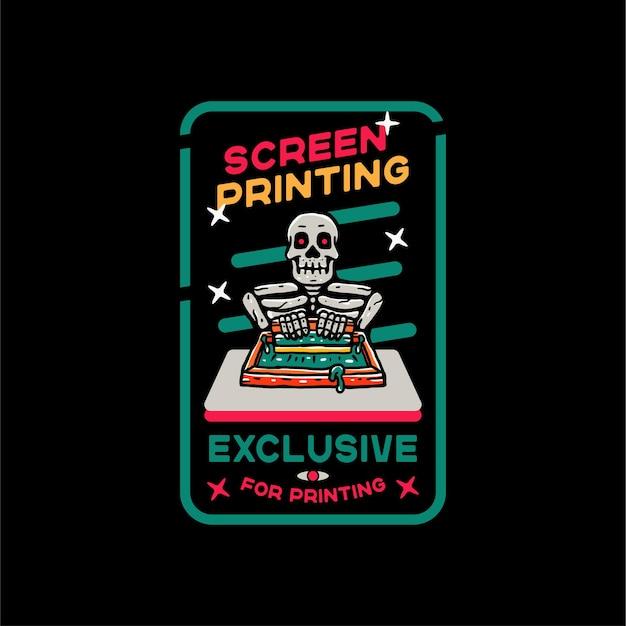 Skull screen printing for tshirt