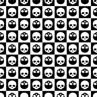 Skull seamless pattern checked halloween ghost