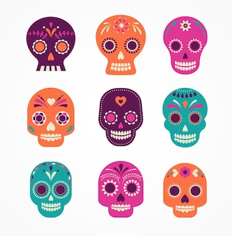 Skull set mexican day of the dead