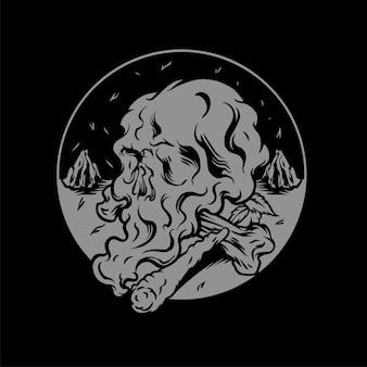 Skull shaped cigarette smoke illustration
