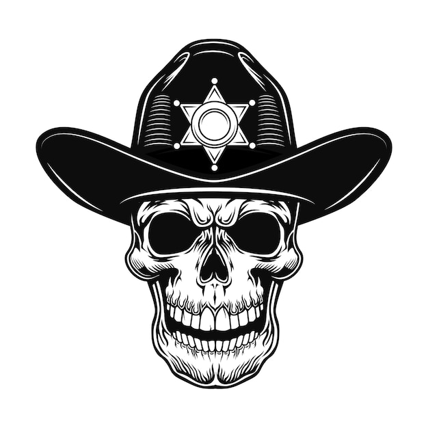 Skull of sheriff vector illustration. head of police officer in hat with star