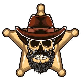 Skull sheriff vector