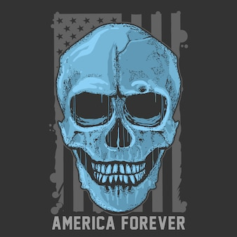 Skull simple grunge america usa flag artwork vector