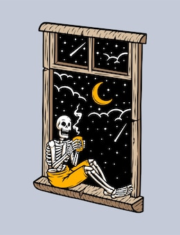Skull sitting in front of the window drinking coffee illustration