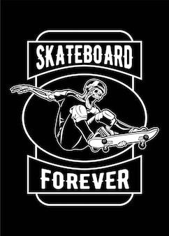 Skull skate board