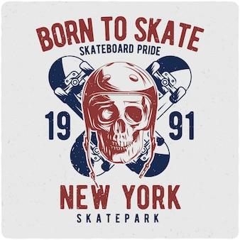 Skull in skateboard helmet and two skateboards