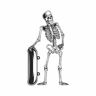 スカルスケートボード立ちイラスト