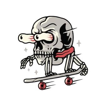 Skull skateboarding horror face illustration