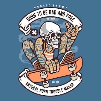 Skull skater cartoon