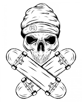 Skull of skater with hat and two crossed skateboards of illustration