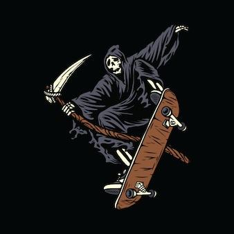 Skull skeleton horror halloween skateboarding illustration
