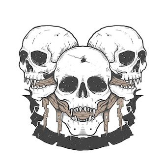 Skull sketching tattoo design illustration