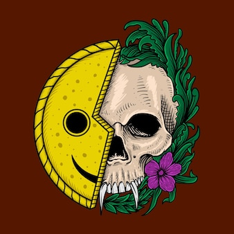 Skull and smile face
