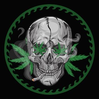 Skull smokes marijuana on a black background.  graphics.