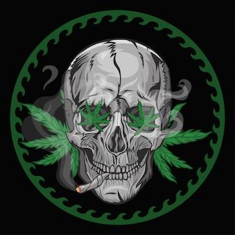 Череп курит марихуану на черном фоне. графика.