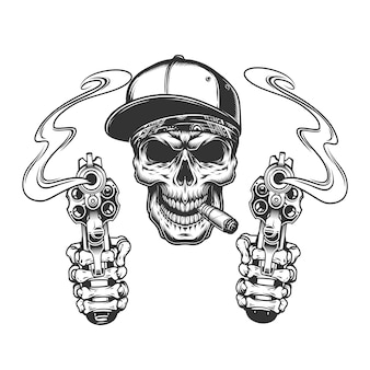 Skull smoking cigar in baseball cap