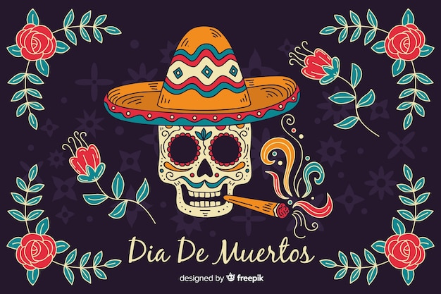 Skull smoking a cigar hand drawn día de muertos background