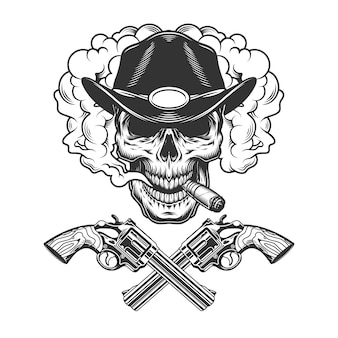 Skull smoking cigar in sheriff hat