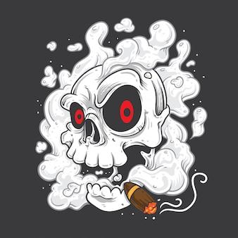 Skull smoking cigars