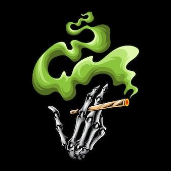 Skull smoking finger logo