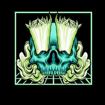 Skull smoking illustration