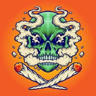 Skull smoking a marijuana vector illustrations for your work logo, mascot merchandise t-shirt, stickers and label designs, poster, greeting cards advertising business company or brands.