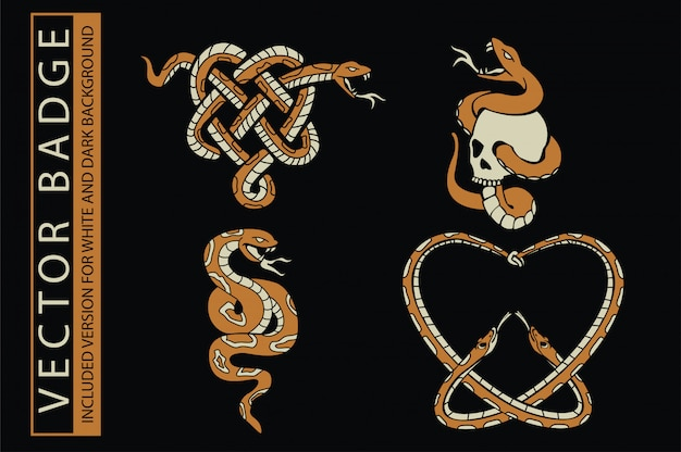 Skull and snake illustration for t-shirt and other uses