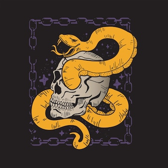 Skull and snake poster with chain frame design