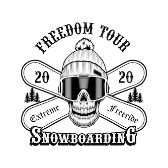 Skull of snowboarder in hat vector illustration. head of skeleton, extreme freeride text on crossed boards. winter activity and sport concept for ski resort or club and communities emblems