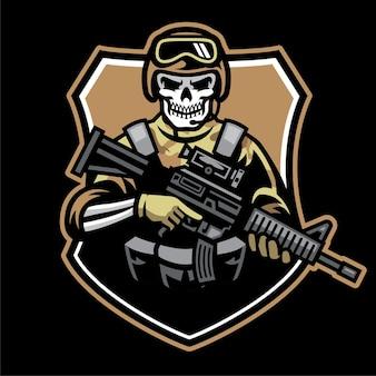 頭蓋骨の兵士のマスコットが突撃銃を保持します