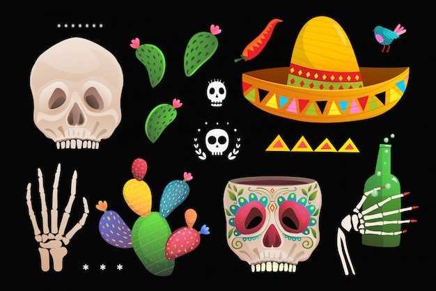 Skull sombrero cactus mexican symbols