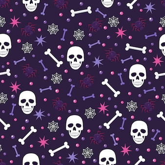 Skull and spider seamless pattern